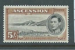 Ascension 1938 KGVI Definitive 5/- Long Beach Perf. 13.5 FM - Ascension
