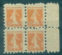 FRANCE Semeuse 30 C Orange N°141 Bloc De 4 Nxx POSTE ENFANTINE Rare TB. - Commemorative Labels