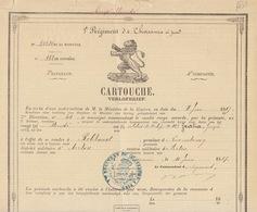 Grand Cartouche 1887 Régiment De Chasseurs à Pied Pour Guillain Robelmont Vorton Fait à Tournai - Documents