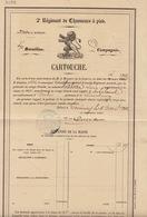 Grand Cartouche 1866 Régiment De Chasseurs à Pide Pour Habran Fait à Tournai Pour Robelmont Virton - Dokumente