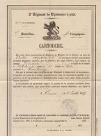 Grand Cartouche 1874 Régiment De Chasseurs à Pide Pour Henrion Fait à Tournai Pour Robelmont Virton - Documentos