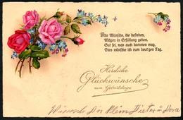 B4516 - Litho Glückwunschkarte - Blumen - AGB - Geburtstag