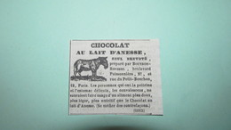 CHOCOLAT AU LAIT D'ANESSE BOUTRON-ROUSSEL - ANNONCE PUBLICITAIRE DE 1839 - Publicités