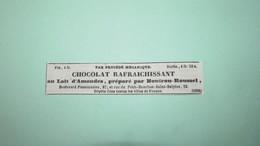 CHOCOLAT RAFRAICHISSANT AU LAIT D' AMANDES Par BOUTRON-ROUSSEL - ANNONCE PUBLICITAIRE DE 1839 - Publicités