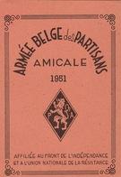 Carte Membre De L'armée Belge Des Partisans 1951 Résistance Guerre Au Nom De Gérard Wavre - Documenten