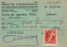 Carte Membre De L'armée Belge Guerre Front De L'indépendance Résistance Civile  Pour Gérard De Wavre - Documenten