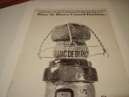 ANCIENNE PUBLICITE BLANC DE  BLANC CANARD DUCHENE 1967 - Alcools