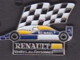 PIN'S - ILE DE LA REUNION -  Automobile Renault  Ventes Au Personnel - FORMULE 1 - DAMIER - Renault