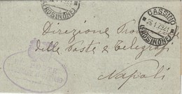 Cassino.  1929. Annullo Guller CASSINO (FROSINONE) + Ovale TRIBUNALE DI CASSINO, Su Franchigia Completa Di Testo - Storia Postale
