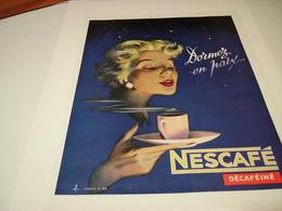 ANCIENNE PUBLICITE CAFE NESCAFE DECAFEINE 1957 - Affiches