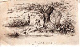 Plume ,encre Noire.La Pêche à La Ligne.Signée.14,3 X 8,5 Cm. - Drawings