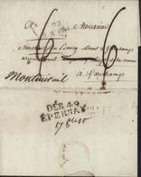 MP Deb 49 Epernay 33x10 Noir Déboursé Date Manuscrite 17 Oct 10 Lettre De Charolles 9 10 1810 Pour Vauchamps Réexpédiée - Marcophilie (Lettres)
