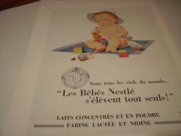 ANCIENNE PUBLICITE  LAIT CONCENTRE SUCRE BEBES NESTLE 1957 - Posters