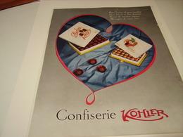ANCIENNE PUBLICITE CONFISERIE  KOHLER  1954 - Posters