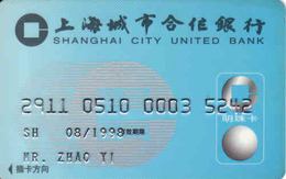 China Bank Magnetic Card, Shanghai City United Bank - Geldkarten (Ablauf Min. 10 Jahre)