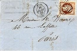 1859- Lettre De METZ  Affr. N°16  Oblit. P C 1871  Pour Paris - Marcophilie (Lettres)