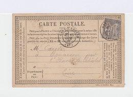 Sage Gris Seul Tarif 15 C. 1877. Cachet Gare D'Annecy. Carte Postale CP Précurseur. (518) - Marcophilie (Lettres)