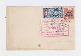 Sur CPA De Cracovie Deux Timbres 1932 34 Surchargés Kopiec Marszalka Pitsudskiego. CAD 1935. Cachet Rouge Komitet. - Marcophilie - EMA (Empreintes Machines)