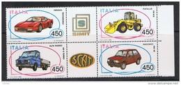 REPUBBLICA:  1986  AUTO   ITALIANE  -  S. CPL. 4  VAL. N. -  SASS. 1771/73 - Blocchi & Foglietti