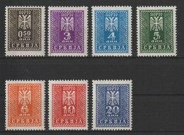 Serbien / Portomarken: Neue Zeichnung  / MiNr: 16-22 - Occupation 1938-45