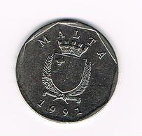 &   MALTA  50 CENTS 1991 - Malte