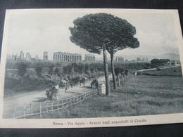 """1910 ANCIENT SMALL POSTCARD OF """"STREET APPIA""""  ROME./ ANTICA PICCOLA CARTOLINA VIAGGIATA DELLA VIA APPIA - Transports"""