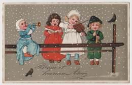 CPSM Relief - Bonne Et Heureuse Année - Enfants Bébé Musicien - New Year