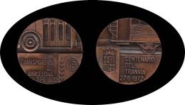 Barcelona Medalla 1972 Centenario Del Tranvía SPM Transportes De Barcelona - Monedas