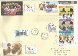 """Belle Lettre Recommandée """"Science In Korea"""" Adressée En Andorre, Avec Timbre  à Date Arrivée - Korea (...-1945)"""