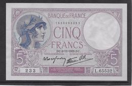 France 5 Francs Violet Type 1917 Modifié - 2-11-1939 - Fayette N° 4-14 - SPL - 1871-1952 Antichi Franchi Circolanti Nel XX Secolo