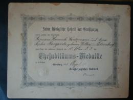 Urkunde Oldenburg, Zur Goldenen Hochzeit, Verleihung Ehejubiläums-Medaille 1911 - Historische Dokumente