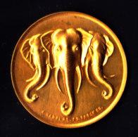 Médaille - Bronze Doré - Eléphant Du LAOS  - Graveur A.RAOULT - Editeur E. BERCK - Fin Anné 50 - France