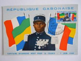 Gabon 1962 Capitaine Ntchorere Mort Pour La France 1940 Carte FDC Yv 164 - Gabon (1960-...)
