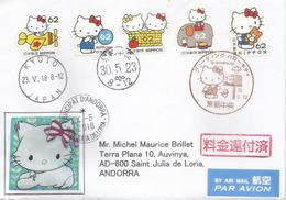 JAPON.  Hello Kitty (Sanrio Co., Ltd), Sur Lettre Adressée En Andorre, Avec Timbre  à Date Arrivée - Comics