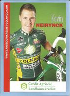 Waregem (Flandre Occidentale) Kevin Neirynck 2 Scans Crédit Agricole Landbouwkrediet-Colnago 2009 - Cyclisme