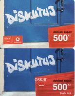 Czech Republic, 2 Different Oscar /now Vodafone/ Vouchers 500 Kč, Plastic Cards, - Tchéquie