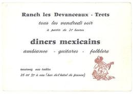Carte Commerciale Ranch Les Devanceaux, Trets, Diners Mexicains - Publicités