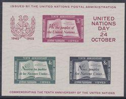 Nations Unies New-York BF N° 1 XX 10 ème Anniversaire De L' O. N. U. , Le Bloc Sans Charnière, TB - Ungebraucht