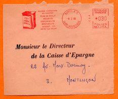 EMA    NANTES       CAISSE D'EPARGNE     9 / 2 / 1966  Devant De Lettre   N° 1057 - Freistempel