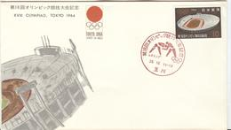 JAPAN Olympic Cover With Olympic Stamp And Brown Olympic Wrestling Cancel Of Tamagawa - Lutte