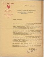 """Lettre Du 15 Mars 1954 Offre De Service  """"Les Wallons De Gilly, Société Folklorique"""" 1965 (Lot 335) - Sports & Tourisme"""