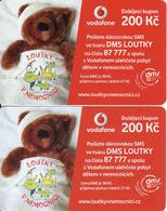 Czech Republic, 2 Different Issue Vodafone Vouchers 200 Kč, See Back Side - Czech Republic