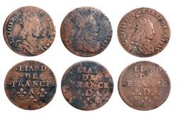 Lot LOUIS XIV Liard De France 1655 A (Corbeil) Et D (Vimy) A VOIR!!! - 1643-1715 Louis XIV Le Grand
