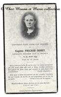 EUGENIE PACCAUD DODEY DECEDEE 29 AOUT 1953 - AVIS DE DECES - LIBRAIRIE VINCENT CHALON SUR SAONE - Décès