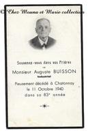 L INDUSTRIEL AUGUSTE BUISSON DECEDE 11 OCTOBRE 1940 A CHATONNAY ISERE - AVIS DE DECES - Avvisi Di Necrologio