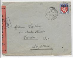 1944 -  YT 572 SEUL Sur LETTRE Avec CENSURE De ST SEVER SUR L'ADOUR (LANDES) => LONDRES (ANGLETERRE) - Marcophilie (Lettres)