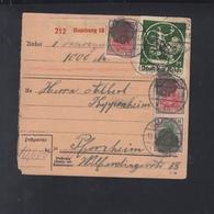 Dt. Reich Paketkarte 1921 Hamburg Nach Pforzheim - Allemagne
