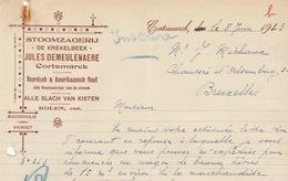 Facture Demeulenaere Stoomzagerij Scirie à Vapeur Cortemarck - 1900 – 1949
