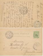 """Cachet Bilingue  """" OUED TINDJA REGENCE DE TUNIS """" DISTRIBUTION AUXILIAIRE - MATEUR FERRYVILLE BIZERTE 1901 CP ENTIER - Cartas"""