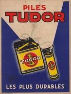 Plaque En Carton De 1935 Pour Les Piles TUDOR Batterie Pile Lampe De Poche - Paperboard Signs